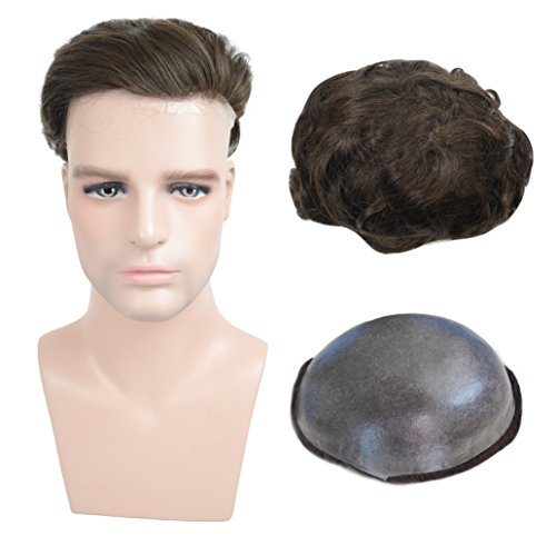 Soft Thin Skin Human Hairpieces Toupee for Men, Veer European Virgin Human Hair Mens Replacement System With 8