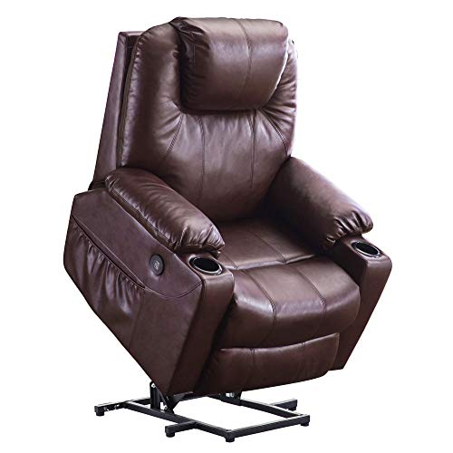 Electric Power Lift Recliner Massage Sofa Heating Chair Lounge Remote Control USB Charging Ports Cup Holders Faux Leather 7040 (Dark Brown)