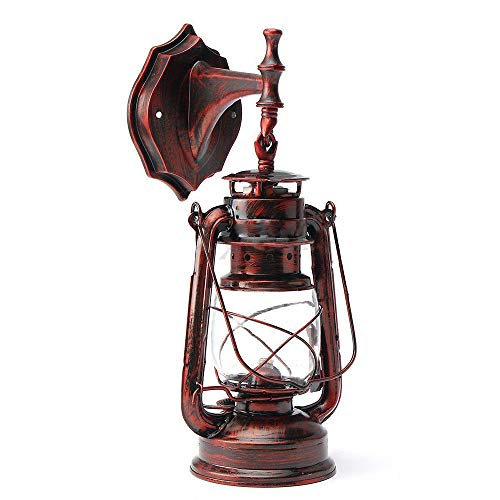 (Wall Sconce Rustic Lantern Wall Mounted Light Industrial Vintage Style Wall Lamp Glass Shade Lighting Fixture for for Headboard Bedroom Farmhouse Garage Door Porch - Red Bronze)