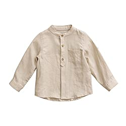 marc janie Baby infant Boys' Linen Shirt Solid Long Sleeve Button-Down Shirt 18 Months Beige