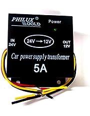 محول طاقة السيارة في 24 فولت - out12 فولت - 5 امبير