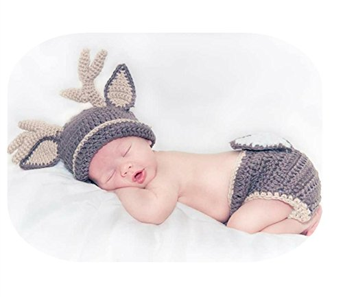 Pinbo Baby Photography Prop Crochet Knitted Deer Beanie Hat Diaper Costume for $<!--$11.99-->