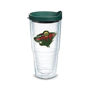 Tervis 1044978 NHL Minnesota Wild Logo Emblem Tumbler with Hunter Green Travel Lid, 24 oz, Clear