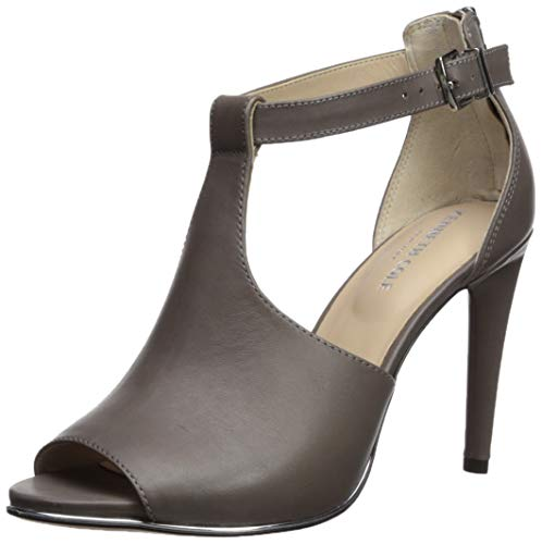 Kenneth Cole New York Women's Brylie Peep Toe T-Strap Dress Sandal Heeled, Grey 8 M US