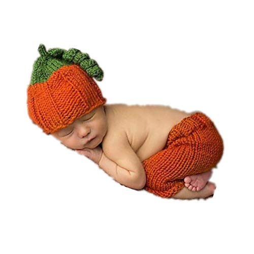 Newborn Baby Photo Props Outfits Pumpkin Hat Pants for Boys Girls Photography Shoot (Hat For Baby Crochet Newborn)