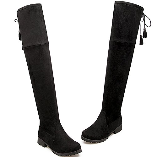 Faux Suede BIGTREE Comfortable By Thigh Winter Boots Up High Warm Fall Black Women Foldable Flat Boots Lace Long Casual OqB7Ow