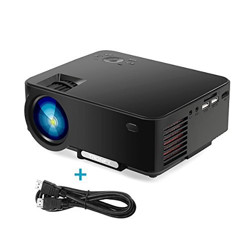 2017 Projector, Tronfy TP60 Upgraded Multimedia Home Theater Projector, Portable Mini LCD LED Video Projector Support 1080P for Game TV iPhone Android Smartphone Laptop with Free HDMI Cable - Black