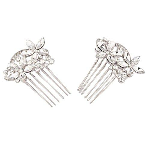 al Crystal Pave Flower Bridal Hair Comb Set (Bridal Floral Veil)