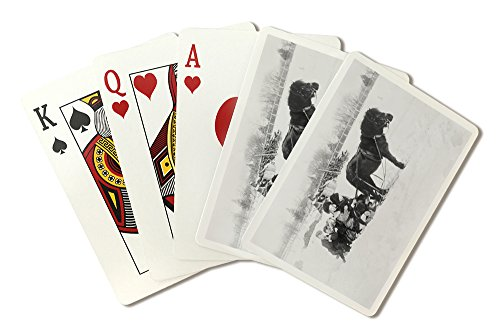 Drawn Sled - Children on Pony Drawn Sled Photograph (Playing Card Deck - 52 Card Poker Size with Jokers)