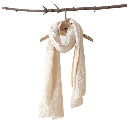 HaloVa Women's Scarf, Retro Literary Pure Color Cotton Wool Plain Wrinkled Linen Scarf, Winter Autumn Long Scarf, White (Wool White Scarf)
