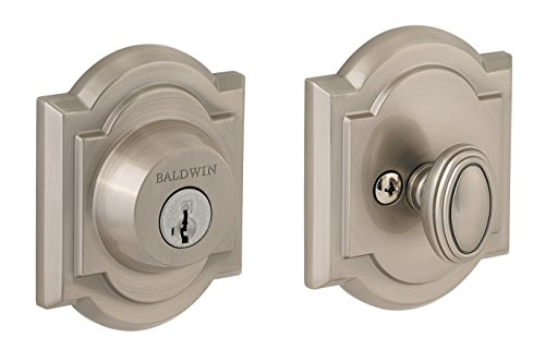Arched Single Cylinder Deadbolt Featuring SmartKey in Satin Nickel (Baldwin Entry Locks)