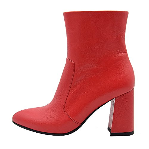 Red Verocara Toe High Almond Boots Suede Block Ankle inches 5 Women's Style Elegant Heel Leather Comfort Genuine xraxS4