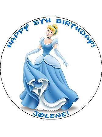 Disney Princess Cinderella 75 Round personalised birthday cake
