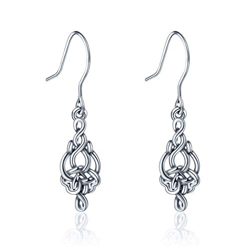 - INFUSEU 925 Sterling Silver Irish Celtic Knot Drop Dangle Hook Earrings for Women (Infinity)