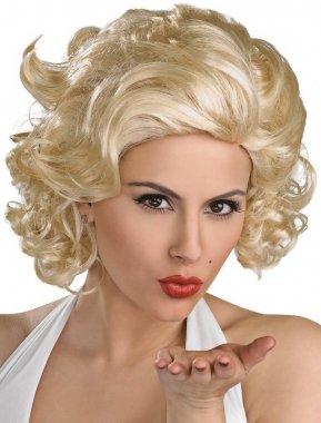 New corto traje de neopreno para mujer Glamour Marilyn Monroe peluca de pelo rizado Blonde de