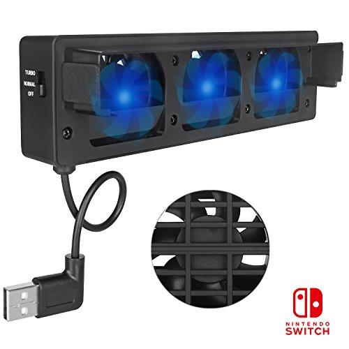 Dock Cooler Stand Fan (Nintendo Switch Cooling Fan KINGTOP External Cooler Stand With 3 Cooling Fan for NS Dock)