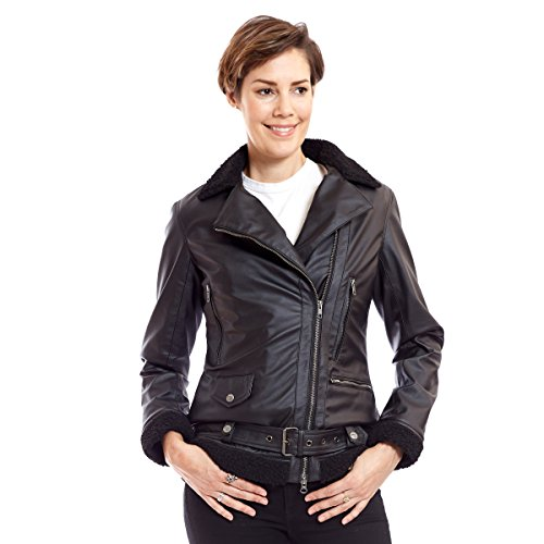 Womens Vegan Leather Aviator Jacket Removable Faux Fur Liner Kathryn (M, Black with Black Liner)
