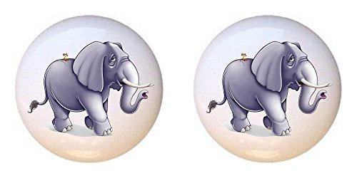SET OF 2 KNOBS - Elephant from Baby Jungle Animals Collection - DECORATIVE Glossy CERAMIC Cupboard Cabinet PULLS Dresser Drawer KNOBS