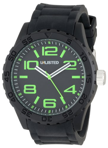 UNLISTED WATCHES Men's UL1279 City Streets Triple Black Dial Green Details Link Bracelet Watch, Watch Central