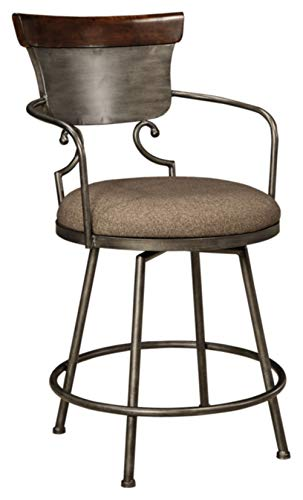 (Ashley Furniture Signature Design - Moriann Swivel Barstool - Counter Height - Vintage Casual - Two-tone Finish)