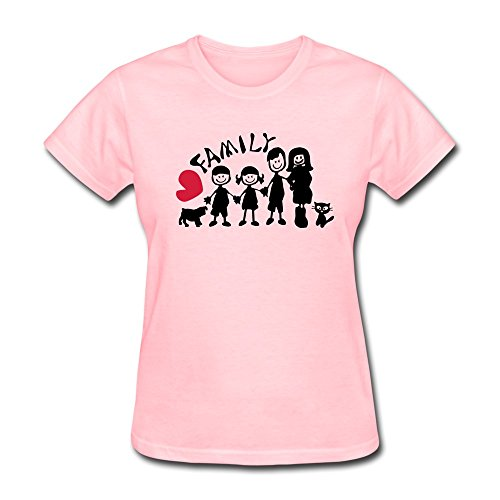 Vansty Heart Family Txt & Dog And Cat Short Sleeves T Shirt For Girlfriend Pink Size XS