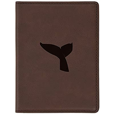 """2bccc7cfc4 cheap Whale Tail Brown Leather Passport Holder - Laser Etched Design - 4 X  5.5"""""""