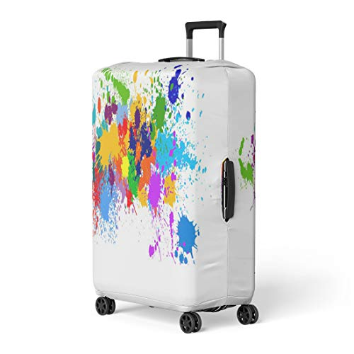 Semtomn Luggage Cover Color Colorful Paint of Splatter Brush Collection Ink Liquid Travel Suitcase Cover Protector Baggage Case Fits 22-24 Inch