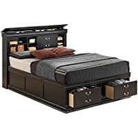 Traditional Storage Platform Bed in Black Finish (Queen - 61.25 in. L x 91.25 in. W x 48.5 in. H)