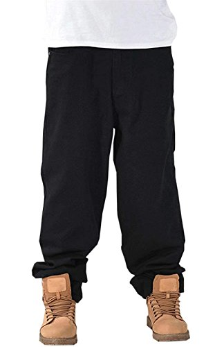 DanTile Men's Hip Hop Loose Fit Straight Leg Skateboard Jeans Denim Pants, Black, Tag 40 = US 38 by DanTile