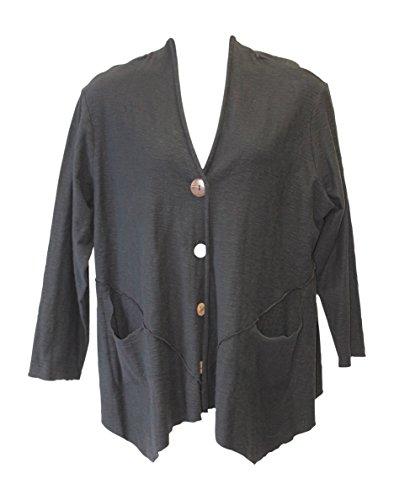 Fenini Women's Black Cotton V Hem Jacket Plus Size (1X, Black)