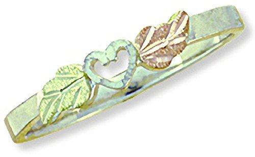 Landstroms Black Hills Gold Heart Valentines Ring made of Sterling Silver - Ring Size 4.5