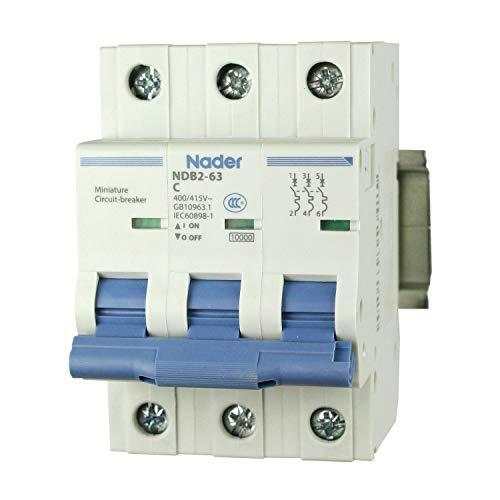 ASI NDB2-63C20-3 DIN Rail Mount Circuit Breaker, UL 1077 Supplemental Protection, 20 amp, 3 Pole, 240 480V, General Purpose Trip Curve C