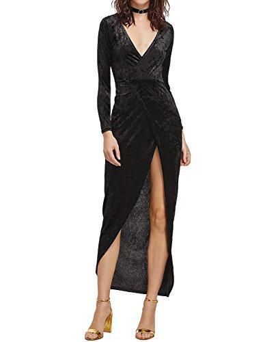 Leadingstar Women's Velvet Cross V-neck Sexy Split Long Sleeve Maxi Black Dress (57.33