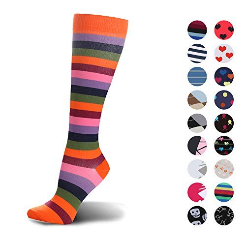 HLTPRO Graduated Compression Socks for Women & Men - Compression Athletic Socks for Running, Crossfit, Travel- Suits, Nurse, Maternity Pregnancy, Shin Splints (Orange Stripe, S/M)