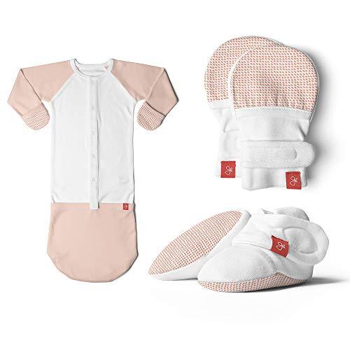 goumikids Newborn Baby Mittens, Booties & Gown + Sleeper Pajamas Bundle, Organic, Soft & Adjustable (Drops Poppy, 0-3 Months)