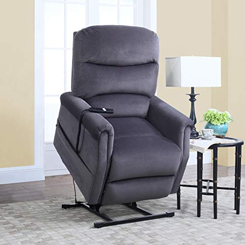 DIVANO ROMA FURNITURE - Classic Plush Power Lift Recliner Living Room Chair (Blue)