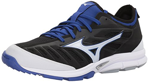 Mizuno Men's Players Trainer 2 Turf Baseball-Shoes,Black/Royal,13 D US