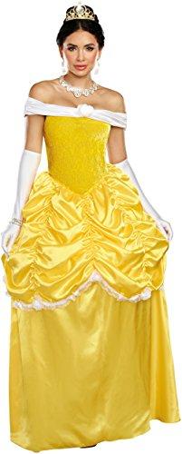 Dreamgirl Women's Fairytale Beauty, Yellow/White, XL -