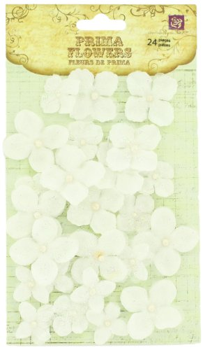 Prima 538484 Pearl Penache Fabric Flower Embellishments, Snowbird -