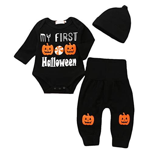 Newborn Baby 3Pcs My First Halloween Pumpkin Costume Set Romper Pant with Hat Black Size (12-18Months) ()