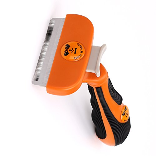Quick Release Button BUYBAR Cat Dog Brush for Deshedding Grooming Pet Shedding Brush for Haired Cats and Small Dogs, 2.6 Inches Edge Orange(M, Orange)
