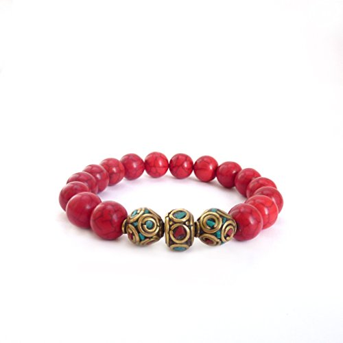 Bohemian Red Tibetan Layering Bracelet - Turquoise Coral - Red River Stones