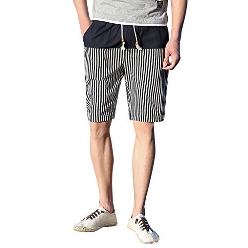 Beach Shorts Mens Summer Casual Ethnic Style Printed Loose Cotton Hemp ()