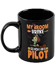 Halloween Koffie Mok Pompoen Spice & Alles Leuke Herfst Keramische Zwarte Mok Grappige Nieuwigheid Thee Cup 11 oz Halloween Cadeaus voor Vrouwen Mannen
