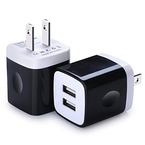 Wall Charger, Charging Block Brick, FiveBox 2-Pack Dual Port 2.1A USB Wall Charger Base Charging Cube Plug Phone Charger Box for iPhone X/8/7/6/6s Plus, iPad, Samsung Galaxy S7 S6 Edge, Android, LG