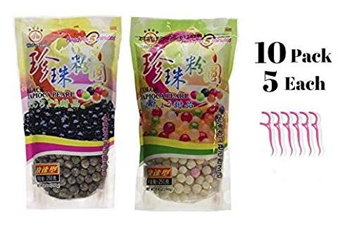 Wufuyuan Tapioca Pearls (5) Black 8.8 oz & (5) Colorful Pearls 8.8 oz (Pack of 10) Bundled with 20ct Dental Flossers in a Prime Time Direct Sealed Bag by WuFuYuan