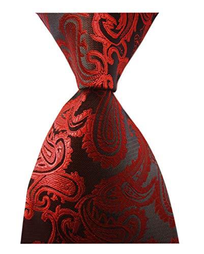 - Men's Slim Bright Red Black Ties Flowers Party Wedding Polyester Noble Necktie