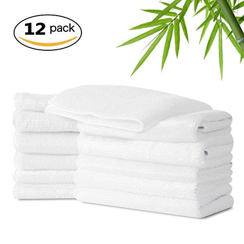 luckiss Bamboo Dish Cloths & Rags Super Absorbent Eco Friendly Kitchen Rag for Washing Dishes White Household Cleaning Dishcloths 12 Pack 12 X 12 inch