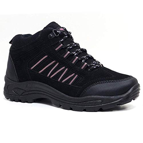 Pink HIKING TREKING SHOES WOMENS BOOTS 8 GIRLS TRAIL 3 WALKING Black RAMBLING SIZE 5IwqOw7