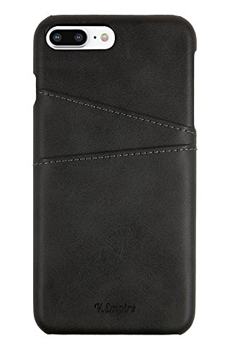 V.Empire Leather iPhone Case for iPhone 7 Plus | iPhone 8 Plus | Wallet iPhone Case | Ultra-Slim Leather Credit Card Holder | Mobile Phone Case | Apple iPhone 7+/8+ Cover (Black) by V.Empire
